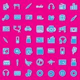 Iconos de la etiqueta engomada del audio y de la música Fotografía de archivo libre de regalías