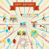Iconos de la etiqueta engomada del partido del feliz cumpleaños fijados Fotos de archivo