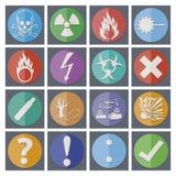 Iconos de la etiqueta engomada del peligro, símbolos Foto de archivo libre de regalías