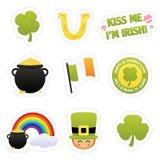 Iconos de la etiqueta engomada del St. Patrick ilustración del vector