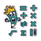 Iconos de la etiqueta engomada del vinilo de la matemáticas Foto de archivo