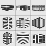 Iconos de la etiqueta engomada del web del vector de los edificios fijados Fotos de archivo