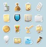Iconos de la etiqueta engomada para el asunto y las finanzas Fotografía de archivo