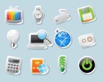 Iconos de la etiqueta engomada para la tecnología y los dispositivos Fotografía de archivo libre de regalías