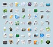 Iconos de la etiqueta engomada para la tecnología y los dispositivos Imagen de archivo libre de regalías