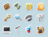 Iconos de la etiqueta engomada para las pertenencia personales Fotografía de archivo