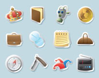 Iconos de la etiqueta engomada para las pertenencia personales Fotografía de archivo libre de regalías