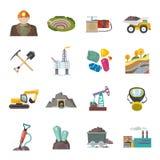 Iconos de la explotación minera planos ilustración del vector