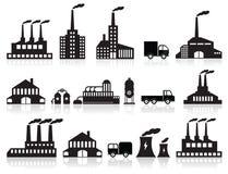 Iconos de la fábrica (negro y blanco) Imagen de archivo libre de regalías