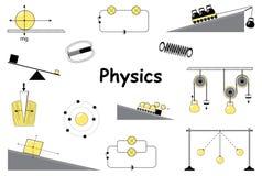 Iconos de la física y de la ciencia fijados Imagen de archivo libre de regalías