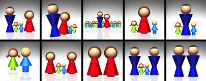 iconos de la familia 3D Imagen de archivo