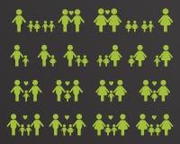 Iconos de la familia del homosexual y lesbiana stock de ilustración