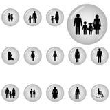 Iconos de la familia fijados Imagen de archivo libre de regalías
