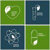 Iconos de la farmacia verde y de la medicina herbaria Fotos de archivo libres de regalías