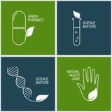 Iconos de la farmacia verde y de la medicina herbaria Imagen de archivo