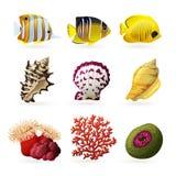 Iconos de la fauna del mar Imágenes de archivo libres de regalías