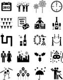 Iconos de la Feliz Año Nuevo Imagen de archivo libre de regalías