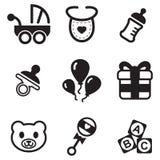 Iconos de la fiesta de bienvenida al bebé Imagen de archivo