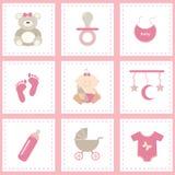 Iconos de la fiesta de bienvenida al bebé Imágenes de archivo libres de regalías