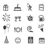 Iconos de la fiesta de cumpleaños Fotografía de archivo