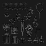 Iconos de la fiesta de cumpleaños de la tiza fijados imágenes de archivo libres de regalías