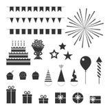 Iconos de la fiesta de cumpleaños fijados ilustración del vector