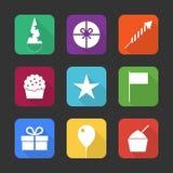 Iconos de la fiesta de cumpleaños fijados imagen de archivo libre de regalías