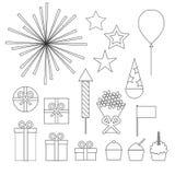 Iconos de la fiesta de cumpleaños fijados stock de ilustración