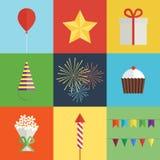 Iconos de la fiesta de cumpleaños fijados fotografía de archivo