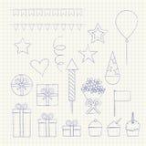 Iconos de la fiesta de cumpleaños fijados fotografía de archivo libre de regalías