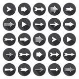 Iconos de la flecha con la sombra larga Imágenes de archivo libres de regalías