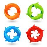 Iconos de la flecha del círculo fijados ilustración del vector