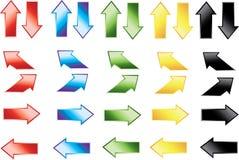 Iconos de la flecha del color Fotografía de archivo