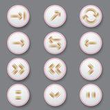 Iconos de la flecha del color de rayas Foto de archivo libre de regalías