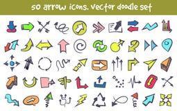 Iconos de la flecha del garabato del vector fijados Imagen de archivo libre de regalías