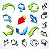 Iconos de la flecha del ordenador Imagenes de archivo