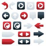 Iconos de la flecha direccional en negro, rojo y blanco Imagenes de archivo