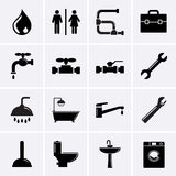 Iconos de la fontanería. Imágenes de archivo libres de regalías
