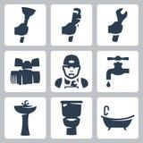 Iconos de la fontanería del vector fijados Foto de archivo libre de regalías