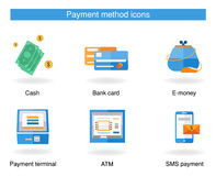 Iconos de la forma de pago Imagen de archivo libre de regalías