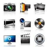 Iconos de la foto y del vídeo Imagen de archivo libre de regalías