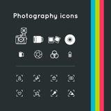 Iconos de la fotografía fijados stock de ilustración