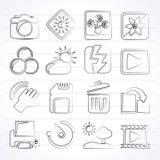 Iconos de la fotografía y de la función de la cámara Imagen de archivo libre de regalías