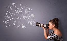 Iconos de la fotografía del tiroteo de la muchacha del fotógrafo Imagen de archivo libre de regalías