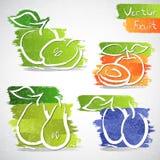 Iconos de la fruta Imagenes de archivo