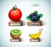 Iconos de la fruta Foto de archivo libre de regalías