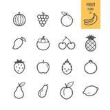 Iconos de la fruta fijados ilustración del vector
