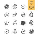 Iconos de la fruta fijados Fruta cortada ilustración del vector