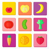Iconos de la fruta y del vegetablte Fotografía de archivo