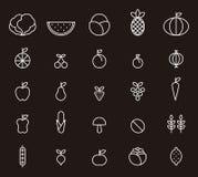 Iconos de la fruta y verdura Fotos de archivo